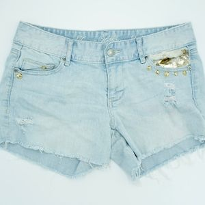 Tommy Hilfiger Studded Jean Shorts Distressed